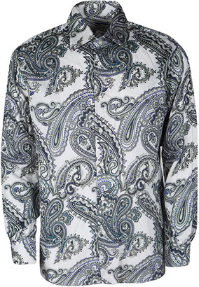 Etro Off White Paisley Printed Cotton Long Sleeve Button Front Shirt L