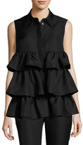 Co Sleeveless Tiered Blouse, Black