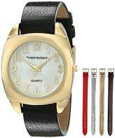 Vernier Women's VNR11120YG Gold-Tone Watch with Four Interchangeable Bands