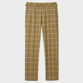 Paul Smith Men's Slim-Fit Khaki Windowpane Check Wool Trousers With Side-Adjusters