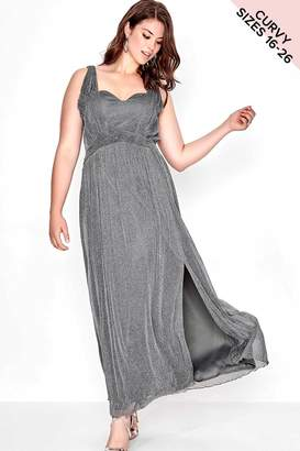 Little Mistress Curvy Grey Lurex Maxi Dress