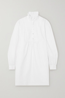 ALEXACHUNG Ruffled Herringbone Cotton-blend Mini Dress - White