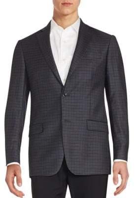 Michael Kors Plaid Two-Button Wool Blazer