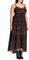 City Chic Plus Size Women's Aztec Warrior Smocked Waist Maxi Dress