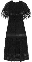 Anna Sui Leather And Guipure Lace-Trimmed Embroidered Mesh Maxi Dress
