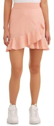 L.N.V. Juniors' Printed Ruffle Trim Wrap Mini Skirt