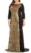 Terani Couture Plus 3/4 Sleeve Metallic Applique Gown