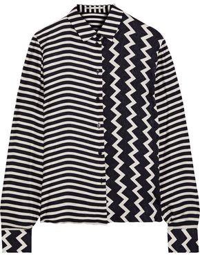 Stella McCartney Wilson Paneled Striped Silk-satin Jacquard Shirt