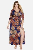 Fashion to Figure Misty Medallion Wrap Maxi Dress