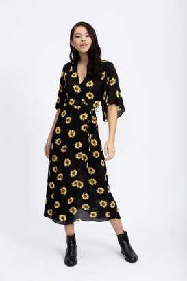 Liquorish Kimono sleeve wrap midi dress in black sunflower