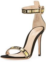 Gianvito Rossi Embroidered Velvet Portofino Sandal, Black Glam