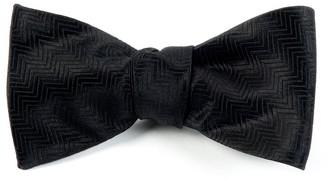 Tie Bar Herringbone Black Bow Tie