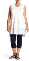 Melissa McCarthy Chiffon Contrast Slub Knit Tank (Plus Size)