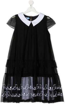 Mi Mi Sol TEEN heart print ruffled dress