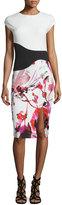 Sachin + Babi Cap-Sleeve Floral Combo Sheath Cocktail Dress