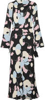 Marni Havana Floral-print Crepe De Chine Maxi Dress - Black