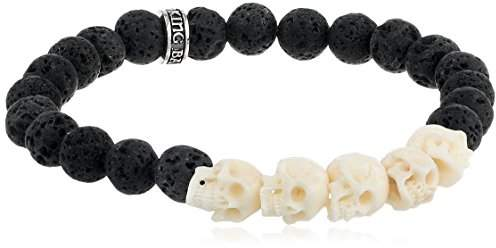 King Baby Studio Lava Rock Bead with Black and White Bone Skull Bridge Bracelet