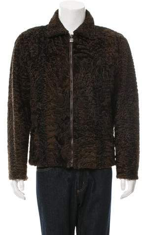 Bijan Leather-Trimmed Shearling Jacket