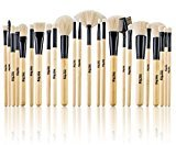 Jet Set Studio Quality Jet-Set Bamboo 24 Piece Premium Synthetic Cosmetic Makeup Brush Brushes Set Kit with Pouch Case Bag (Jet Black)
