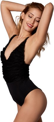 MC2 Saint Barth Shiny Black One Piece Or Body Lapped With Black Tulle #sheertulle