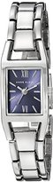Anne Klein Women's 10/6419BLSV Rectangular Silver-Tone Bracelet Watch