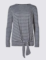 Marks and Spencer Striped Tie-Front Long Sleeve Jersey Top
