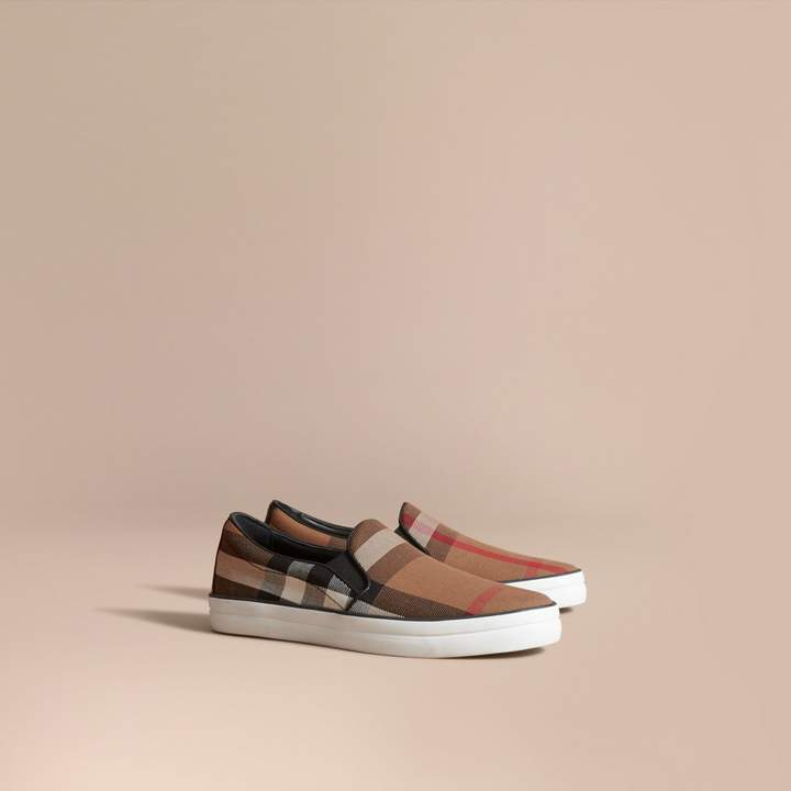 Burberry House Check and Leather Slip-on Sneakers , Size: 38, Brown