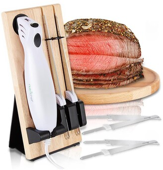 Nutrichef Electric Kitchen Knife with Wooden Storage Tray