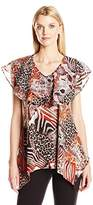 Notations Women's Printed V-Neck Sharkbite Bluse with Chiffon Ruffle
