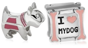 Rhona Sutton 4 Kids Children's Enamel Love My Dog Bead Charms - Set of 2 in Sterling Silver