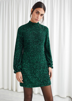 And other stories Balloon Sleeve Sequined Mini Dress