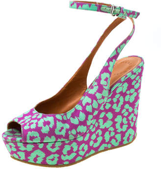 Marc by Marc Jacobs Multicolor Animal Print Fabric Peep Toe Ankle Wrap Platform Wedge Sandals Size 38