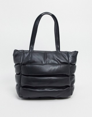 ASOS DESIGN puffed quilted tote bag in black