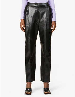 MATÉRIEL Tapered-leg high-rise faux-leather trousers