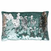 Thro Melody Mermaid Sequin Oblong Throw Pillow in Harbor Silver