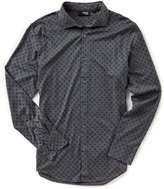 Murano Slim-Fit Liquid Luxury Pinwheel Print Long-Sleeve Shirt