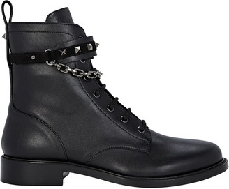 Valentino Rockstud Leather Combat Boots