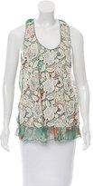 Anna Sui Floral Print Silk Top