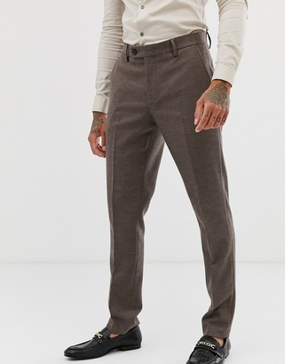 ASOS DESIGN wedding skinny suit trousers in soft brown twill