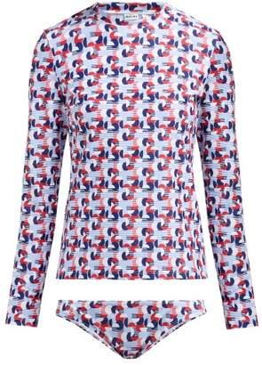 Thorsun Lillie Geometric-print Rash-guard Bikini - Womens - Red Multi