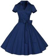 Lecimo 50s 60s Vintage Deep V-Neck Picnic Rockabilly Party Swing Dress (,Size L)