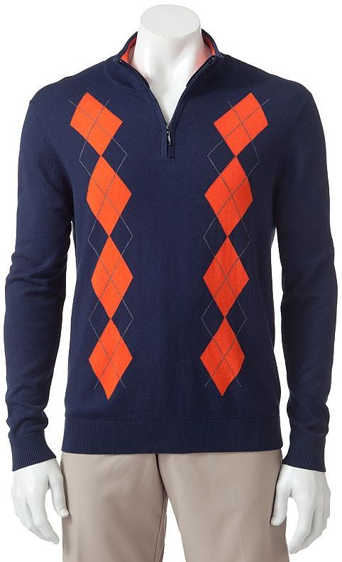 Grand slam 1/4-zip argyle mockneck sweater