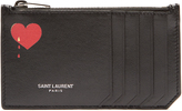 Saint Laurent Fragments heart-print leather cardholder