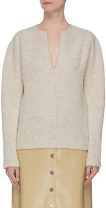 Vince Split neck cashmere wool blend felt sweater