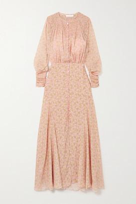 Chloé Embellished Smocked Floral-print Silk Crepe De Chine Maxi Dress - Pink