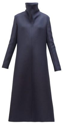 The Row Barbara High-neck A-line Wool-blend Midi Dress - Navy