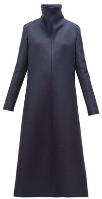 The Row Barbara High-neck A-line Wool-blend Midi Dress - Womens - Navy