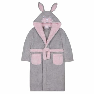 Lora Dora Girls 3D Bunny Rabbit Hooded Dressing Gown Grey 4-5 Years