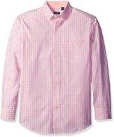 Izod Men's Long Sleeve Essential Check Button Down Woven Shirt