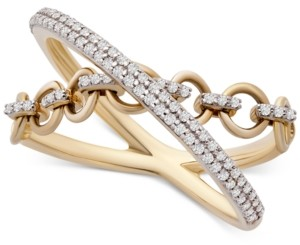 Wrapped Diamond Crisscross Chain Link Statement Ring (1/4 ct. t.w.) in 14k Gold, Created for Macy's